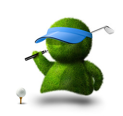 cute green person playing golf