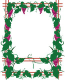Art-nouveau framework from a grapevine and grapes brushes poster