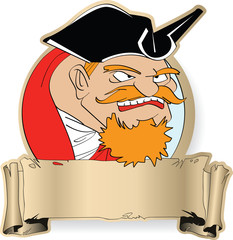 The angry captain of the piracy ship with red moustaches