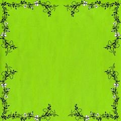 encadrement vert anis et angles fleurit