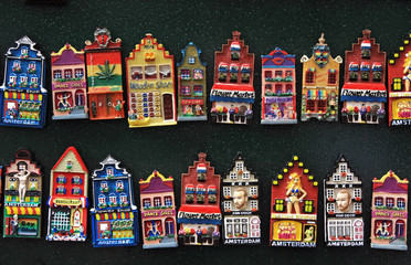 dutch model houses, fridge magnets