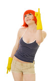 woman in red wig and yellow gloves pointig with winger poster