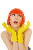 carefree woman in red wig and yellow gloves poster