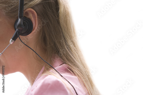 Woman with headset, section, cut out