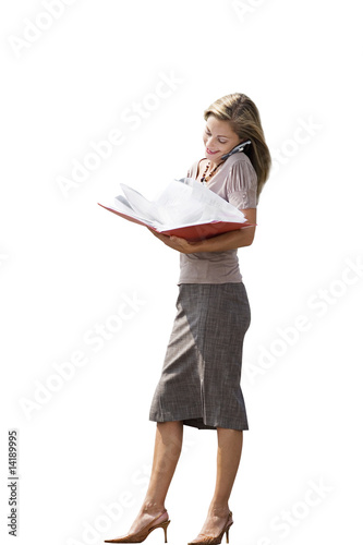 Businesswoman reading document in folder, using mobile phone, smiling, cut out