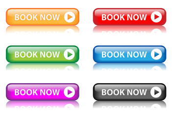 """Book Now"" buttons (various colours with reflection)"
