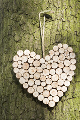 A heart shaped wooden decoration hanging on a tree