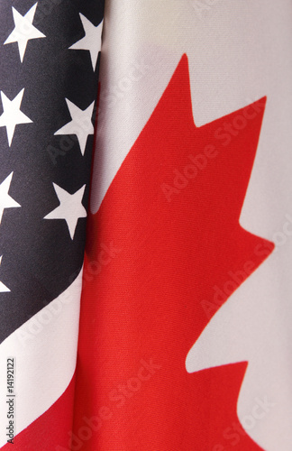 USA and Canada flag portions