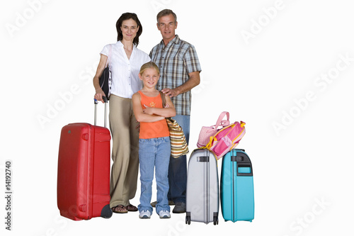 Family of three with luggage, smiling, portrait, cut out
