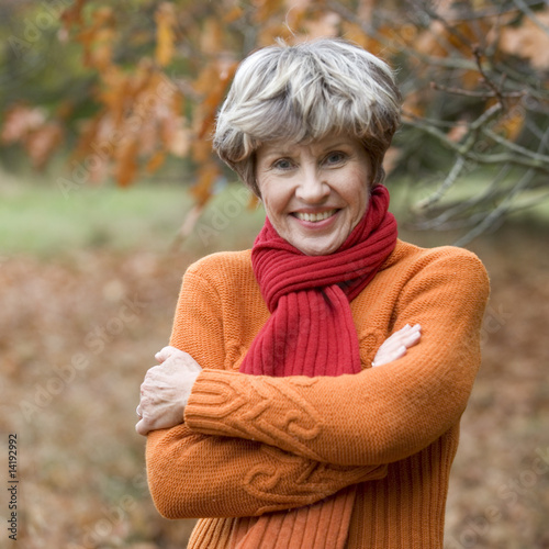 A portrait of a senior woman smiling