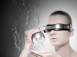 Female robot. Nanotechnology concept