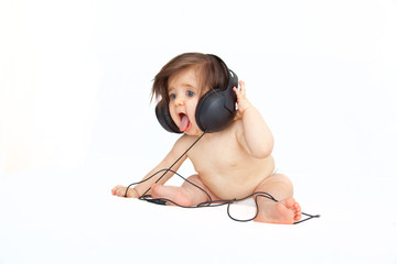 music singing listening baby with headset