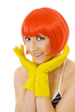 woman in red wig and yellow gloves poster