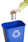 Person putting tin can into recycling bin, close-up of hand, cut out