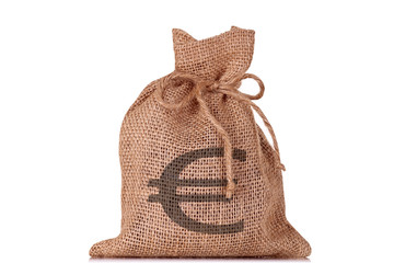 A bag of money with a euro sign on it.