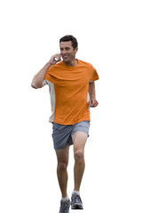 male runner talking on mobile phone, cut out