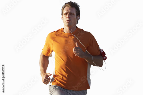 man running listening to music on earphones, cut out