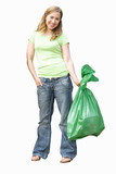 woman holding sack of rubbish, cut out