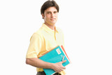 man holding workbooks, cut out