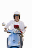 man on scooter with bunch of roses, cut out