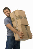 man carrying boxes, cut out