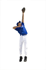american baseball player reaching up, cut out