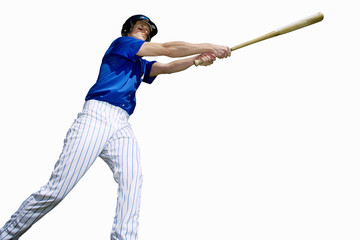 american baseball player leaning out holding bat, cut out