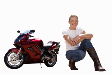 woman sitting next to motorbike, cut out