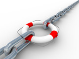 Chain fastened by lifebuoy. Isolated 3D image. poster