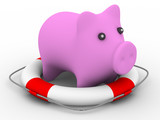 Rescue of pink pig. Isolated 3D image poster