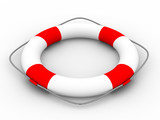 Lifebuoy on a white background. Isolated 3D image