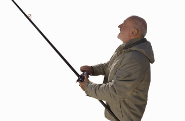 senior man in winter jacket holding fishing rod, cut out