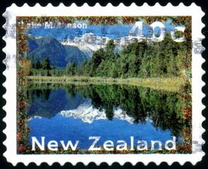 New Zealand. Lake Matheson. Timbre postal.