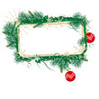 Green and gold grunge Christmas banner with red baubles