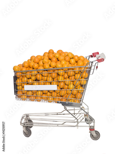 Shopping Cart with oranges isolated towards white background