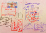 passport with thai and hongkong and lebanese stamps poster