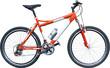 orange mountain bike on white background