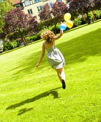 Running girl in a park
