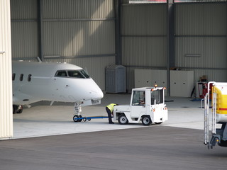 Business jet getting prepared for boarding