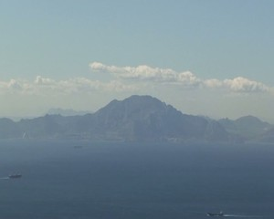 Atlas mountains in Africa with straights of Gibraltar