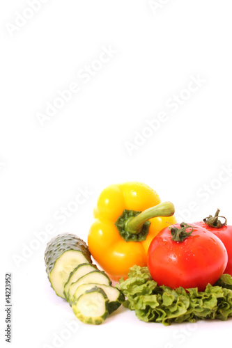 Fresh vegetables on white background. Diet concept.