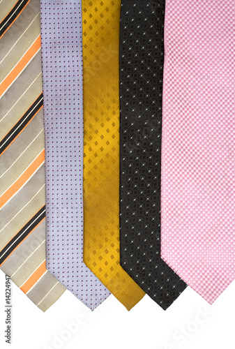 colored neck tie on white