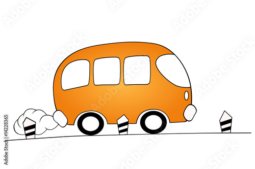 orange cartoon bus
