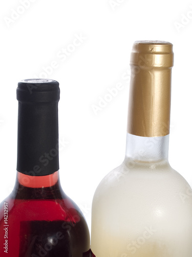 two bottles of red and white wine isolated on white background