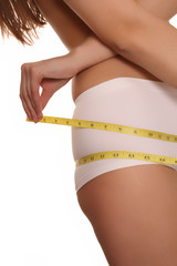 measuring - hips - white panties - brunette