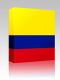 Flag of Colombia box package poster