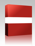 Flag of Latvia box package poster