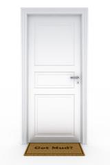 """Door with """"got mud?"""" doormat"""