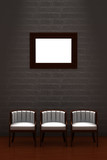 Three chair with empty frame in minimalist interior poster