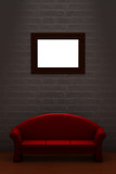Red couch with empty frame in minimalist interior poster
